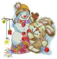 Decorating snowman for Christmas embroidery design