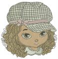 Stylish girl embroidery design