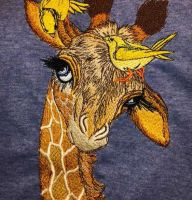 Funny giraffe embroidered design