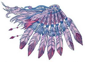 Decoration of feathers machine embroidery design