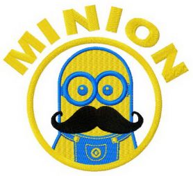 Minion with mustache machine embroidery design