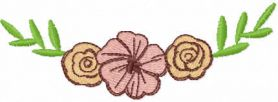 Three flowers decor free embroidery design