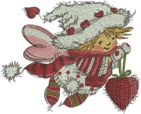 Christmas Fairy with heart embroidery design