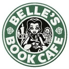 Belle's book cafe machine embroidery_design
