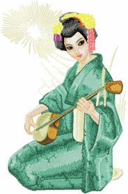 Geisha with Musical Instrument machine embroidery design
