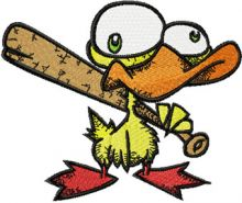Nervous Duck with a Baseball Bat