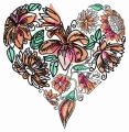 Floral heart 4 embroidery design