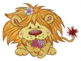 Lion with bouquet if spring flowers machine embroidery design