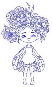 Girl with wings and peony wreath machine embroidery design