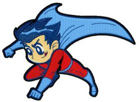 Superboy flying machine embroidery design