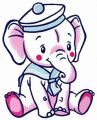 Elephant sailor embroidery design