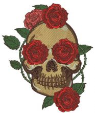 Skull with prickly rose 4