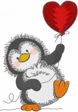 Penguin with red balloon