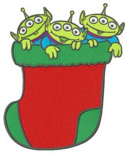 Little Green Men in Christmas sock