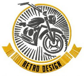 Bike retro design badge machine embroidery design