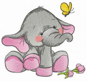 Elephant's touching acquaintance with butterfly machine embroidery design