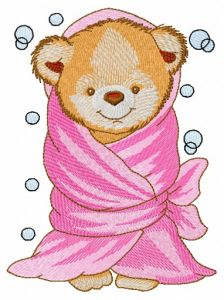 Teddy bear with bath towel
