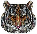 Mosaic tiger embroidery design