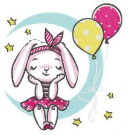 Bunny's birthday party machine embroidery design