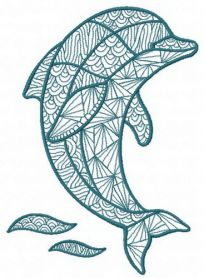 Mosaic dolphin 2 machine embroidery design