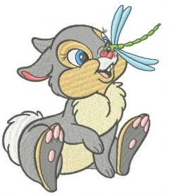 Thumper with dragonfly machine embroidery design