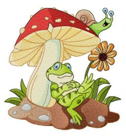 Frog's rest under mushroom machine embroidery design
