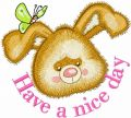 Rabbit have a nice day embroidery design