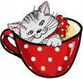 Cat in cup 3 embroidery design