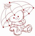 Teddy's rainy day 3 embroidery design