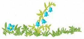 Blue bellflower machine embroidery design