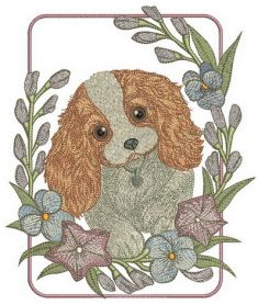 Cute Cocker Spaniel puppy machine embroidery design