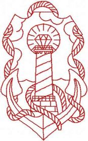 Anchor and lighthouse redwork free embroidery design