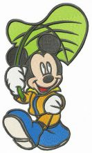 Mickey Mouse with leaf umbrella