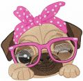 Pug dog in pink glasses embroidery design