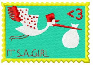 Postage stamp It's a girl