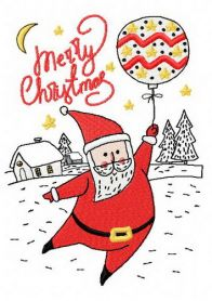 Santa with balloon 2 machine embroidery design