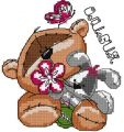 Teddy with bunny cross stitch embroidery design