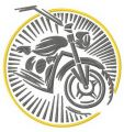 Retro moto emblem embroidery design