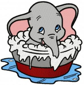 Dumbo taking a bath