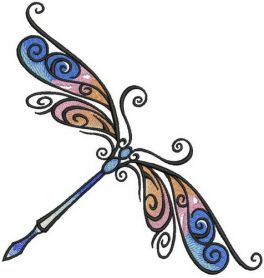 Delicate dragonfly machine embroidery design