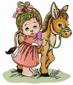 Young lady and her little pony machine embroidery design
