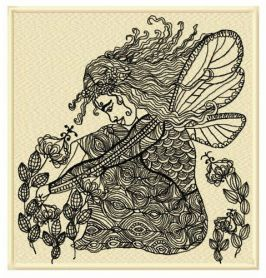 Upset fairy machine embroidery design
