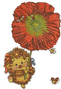 Hedgehog with poppy