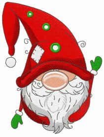 Gnome in red phrygian cap and boots machine embroidery design