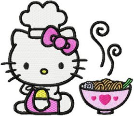 Hello Kitty Loves Chinese Food machine embroidery design