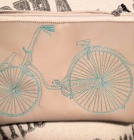 Embroidered small purse with bicycle free design