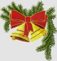 Christmas Bells on a branch embroidery design