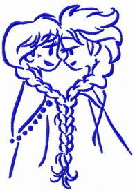 Frozen sisters sketch machine embroidery design
