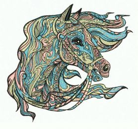 Mosaic horse 8 machine embroidery design
