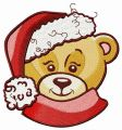 Adorable bear in Santa hat embroidery design